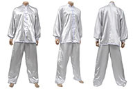 Uniform, Taiji Classical, Wide Frogs, Imitation Silk, Silver & White