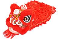 Costume Danse du Lion du Sud, Rouge et Rouge
