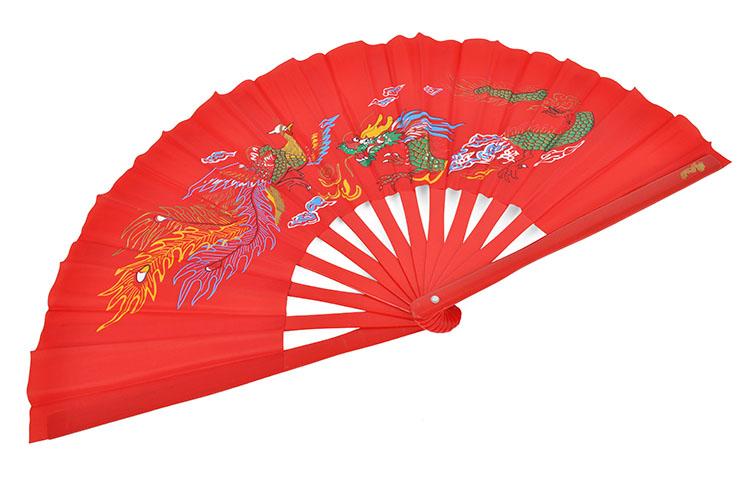 Éventail Tai Chi (Tai Ji Shan) Bambou, Dragon & Phoenix
