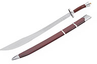 Kungfu Training Broadsword With Scabbard, Red/Silver - Semi Flexible