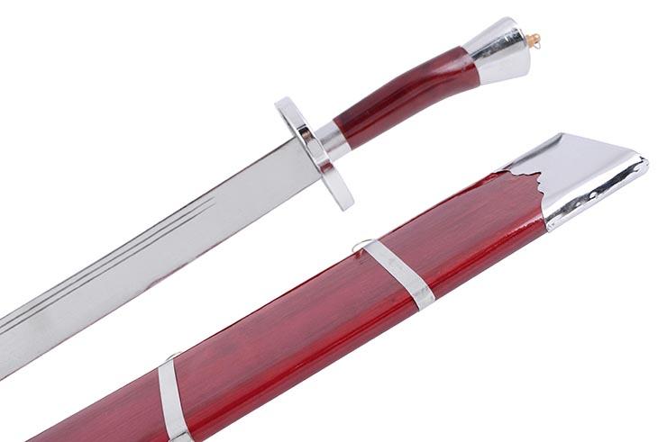 Sabre Entraînement Kungfu, Avec Fourreau, Rouge/Argent - Semi Flexible