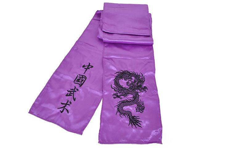 Ceinture Kungfu Dragon Brodée, Imitation Soie