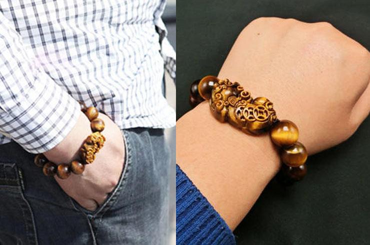 Bracelet Haut de Gamme, Œil du Tigre Pixiu - Pierre 14 mm
