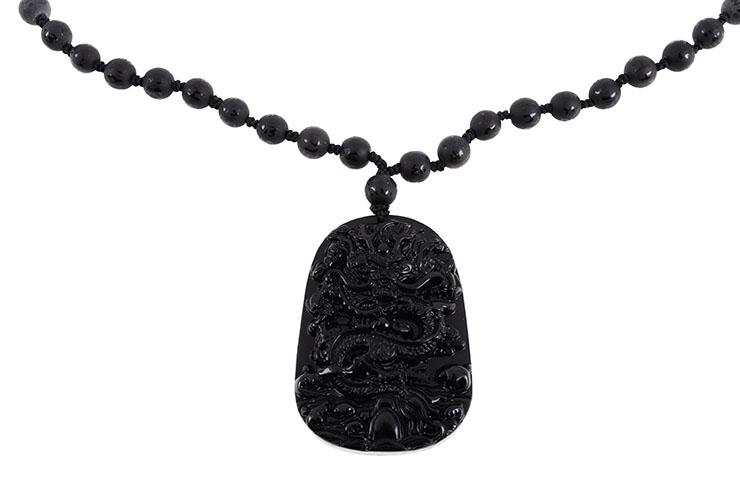 Collier Obsidienne, Gravure Dragon - Perles 8 mm
