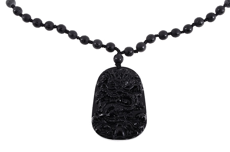 Obsidian Necklace, Dragon Engraving - 8 mm Pearls