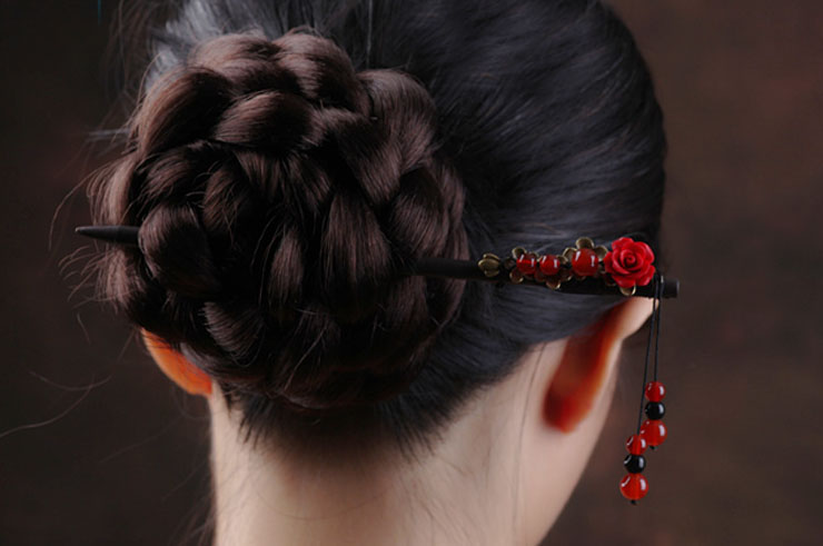 Hair Brooch with Pearls, Red