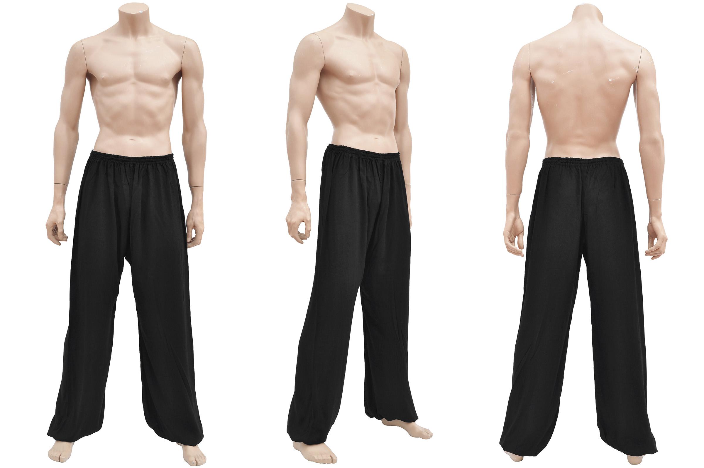 Kung-fu, Wushu Pants, Viscose+Cotton, Black - DragonSports.eu