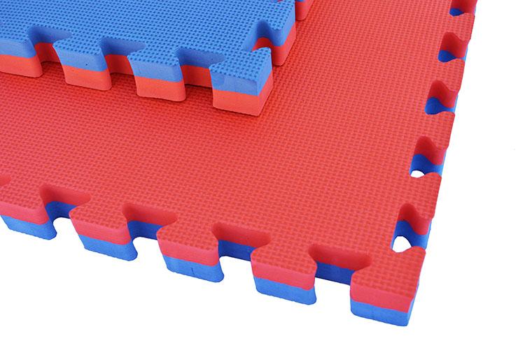 Tatami Rompecabeza 4 cm, Azul/Rojo, Patrón T (Multiuso)