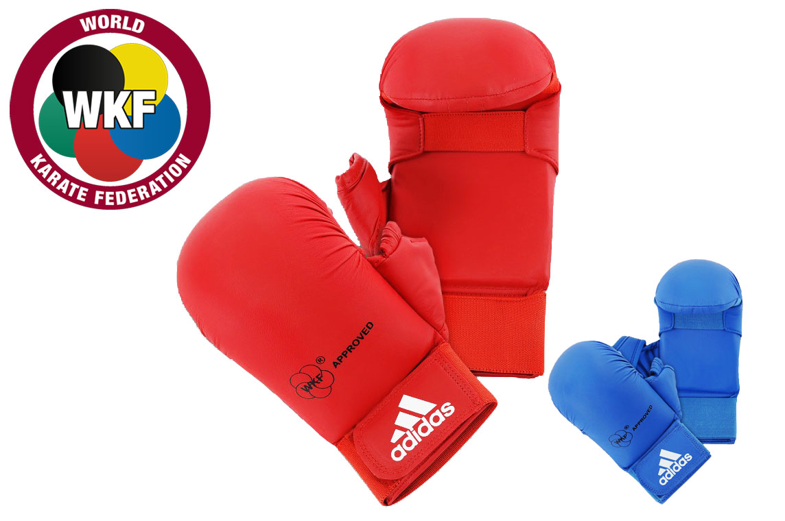 Adidas WKF Karate Mitts with Thumb Blue Competition Sparring Gloves S XL M L