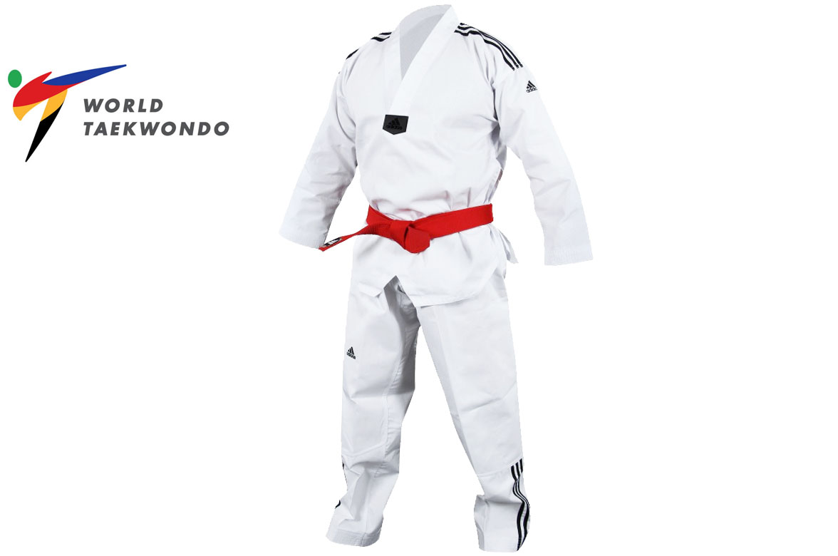 entire collection on sale picked up Taekwondo Dobok WTF, White Colar - ADITCB02, Adidas - DragonSports.eu