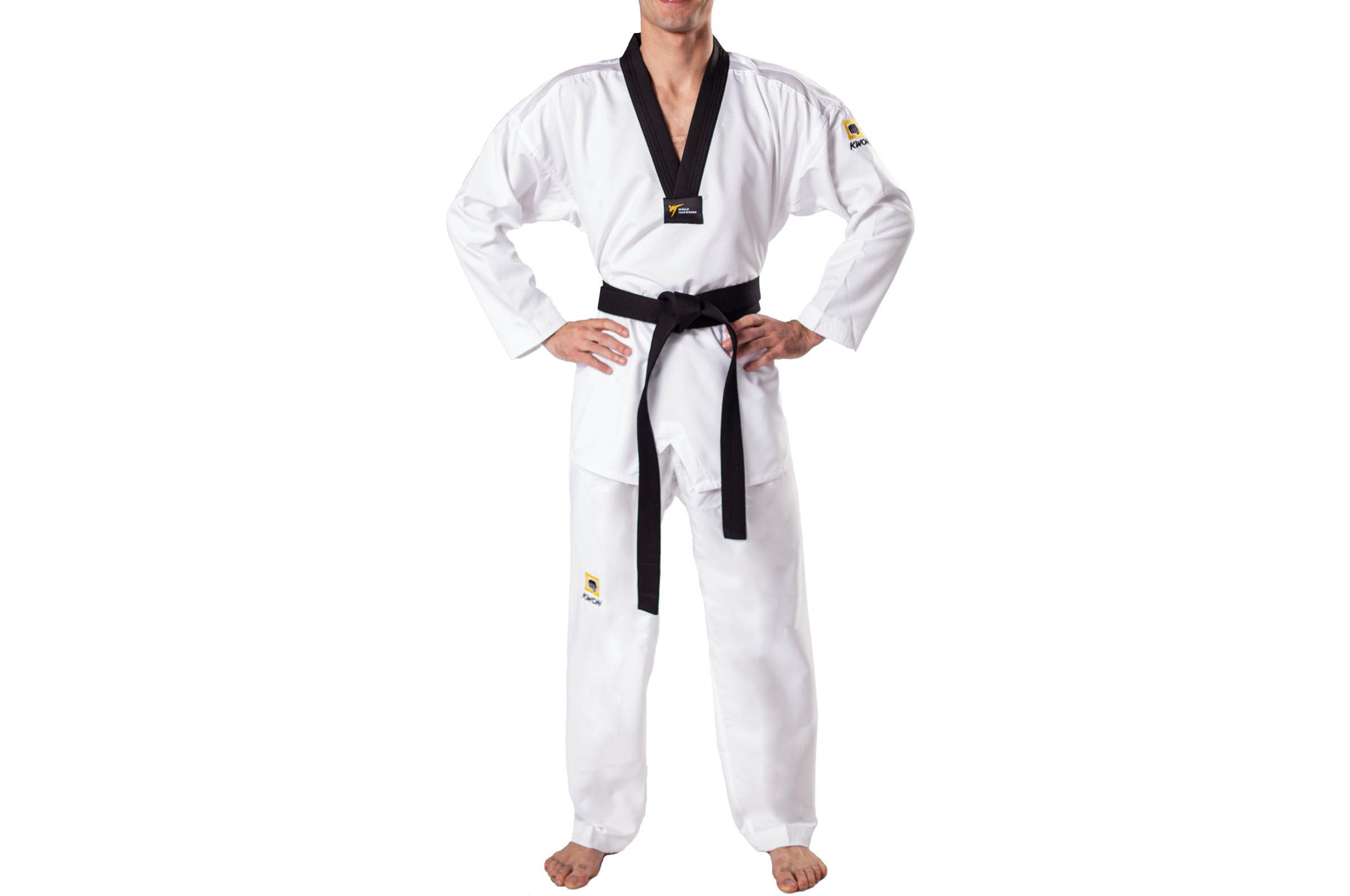 Dobok Taekwondo - col Blanc Noir WTF Fightlite, Kwon - DragonSports.eu a423eccd046