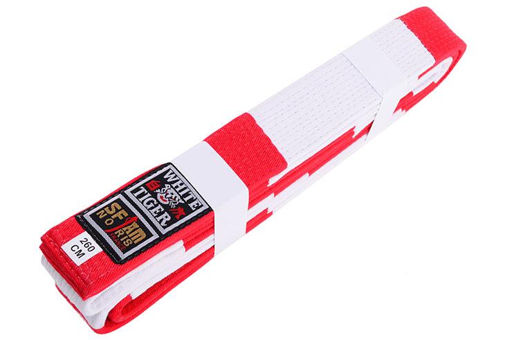 Red & White Judo Belt - White Tiger, Noris