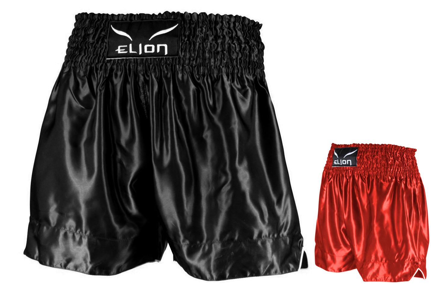 color rojo y negro Pantalones cortos para deportes de contacto Fairtex satinados