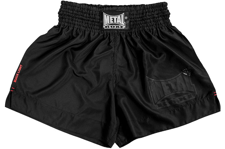 Pantalones cortos de boxeo Thai o Kick, Black light - TC67, Metal Boxe