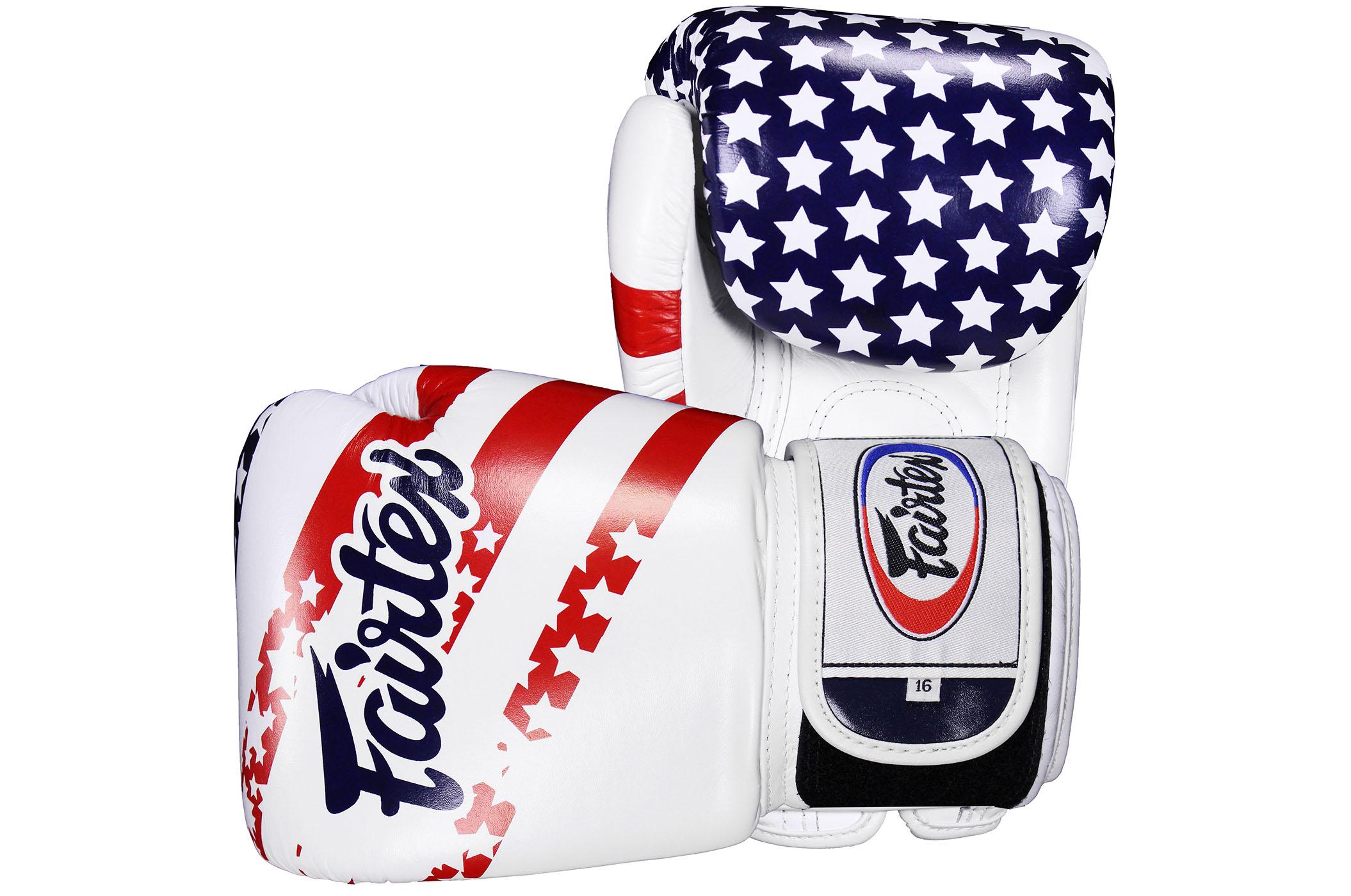 "Gants Entrainement Cuir V1 ""USA Flag"", Fairtex"