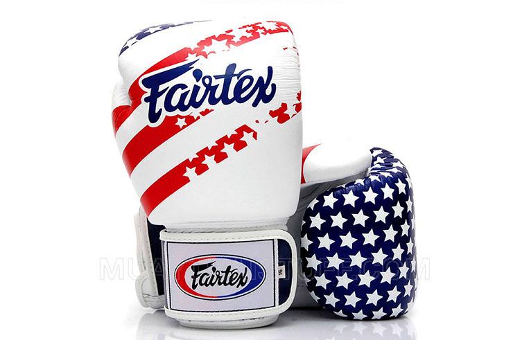 Gants de boxe thaï, Entrainement - Cuir V1 USA Flag, Fairtex