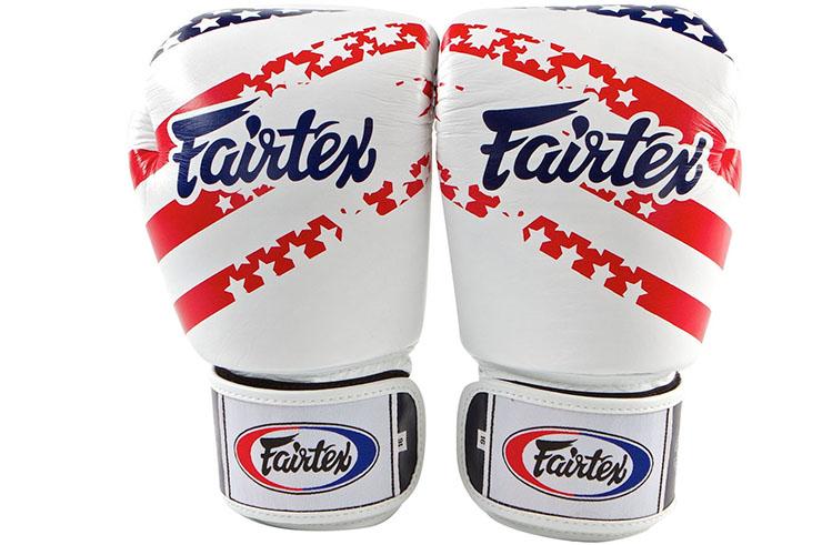 Thai boxing gloves, training - V1 US UU leather flag, Fairtex