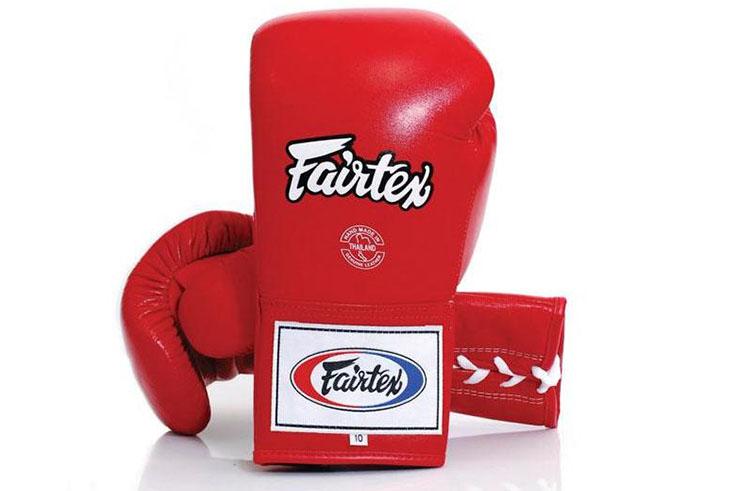 """Gants de Boxe Pro à Lacets """"Thai ProTeam"""", Fairtex"""