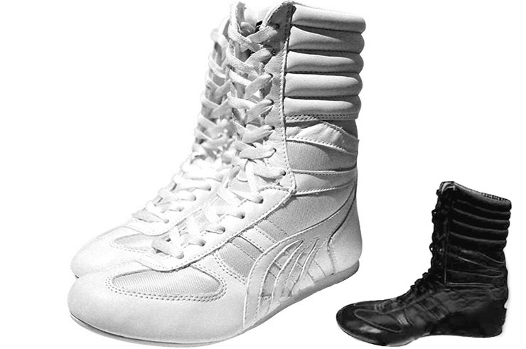 Chaussures Boxe Anglaise, Montantes - Blanches, Champboxing