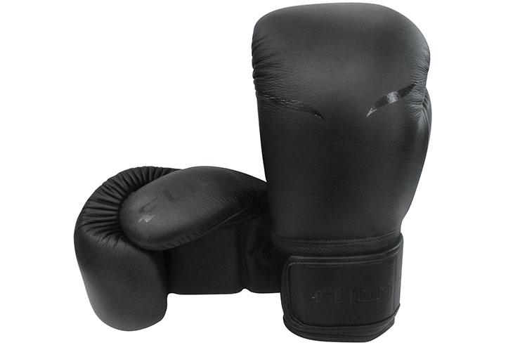 """Gants de Boxe Entrainement Cuir """"Mat Black"""", Elion"""