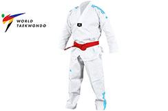 Dobok Taekwondo WTF, rayas azules - ADITCB02, Adidas