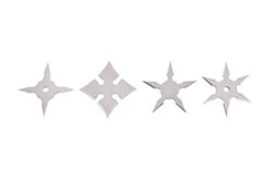 Miniature Ninja Shuriken Throwing Stars - 4pc Lot