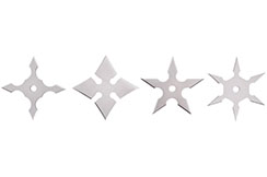Étoiles Ninja Shuriken, Acier inoxydable - Lot de 4
