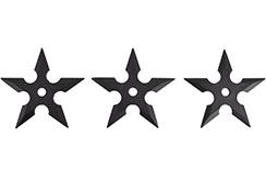 Étoiles Ninja Shuriken, Caoutchouc noir (5 pointes) - Lot de 3