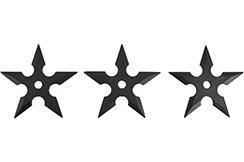 Ninja Shuriken Throwing Stars, black Rubber (5 points) - 3pc Lot