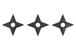 Étoiles Ninja Shuriken, Caoutchouc noir (4 pointes) - Lot de 3