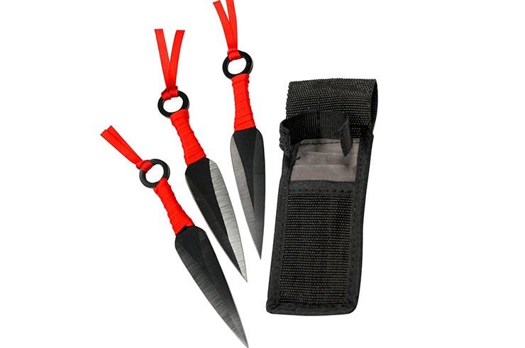 Kunai Acier Inox, noir & tressage noir - Lot de 3 (16 cm)