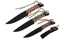 Throwing Knives, Multicolor Nylon - 3pc Lot