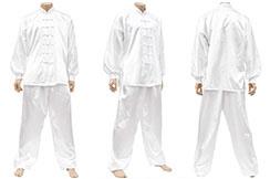 Tenue Taiji, Imitation Soie, Blanc