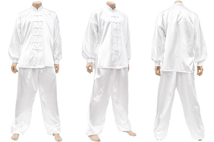 Traje Taiji, Imitación Seda, Blanco