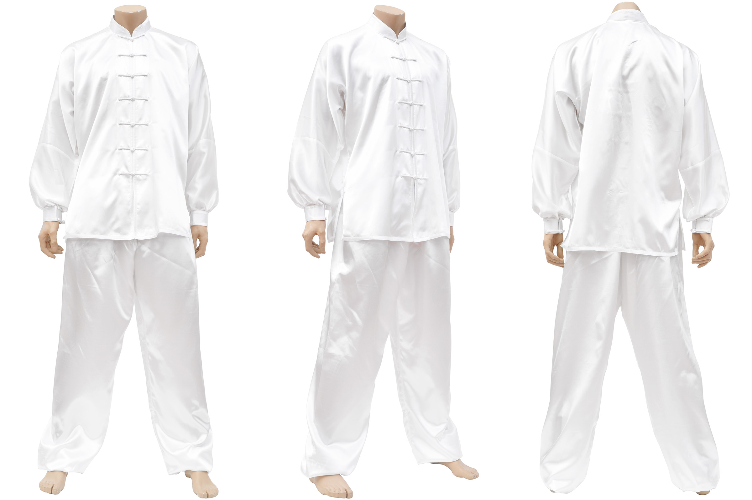 Tenue, Taiji Classique, Imitation Soie, Blanc