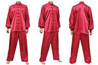 Traje Taiji, Imitación Seda, Rojo
