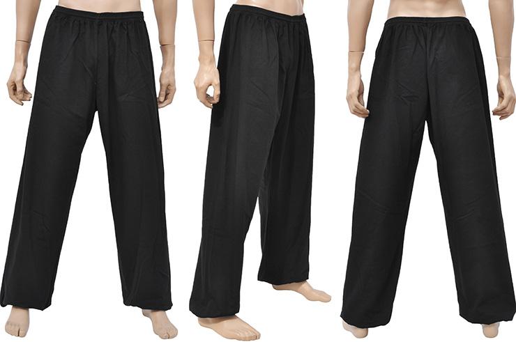 Pantalón de Wushu y Taiji, Algodón Espeso, Negro