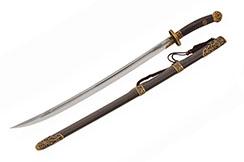 Qing Dynasty Broadsword, Damascus steel - Rigid Sharpened