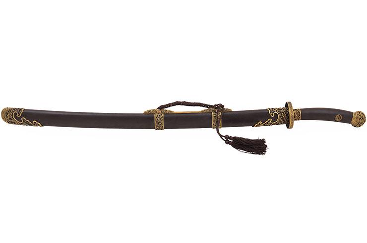 Sabre de la Dynastie Qing, Acier Damas - Rigide Aiguisé