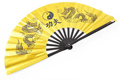Éventail Tai Chi (Tai Ji Shan) Bambou, Dragon Doré