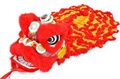 Costume Danse du Lion du Sud Rouge/Rouge, Coque en Plastique abimée