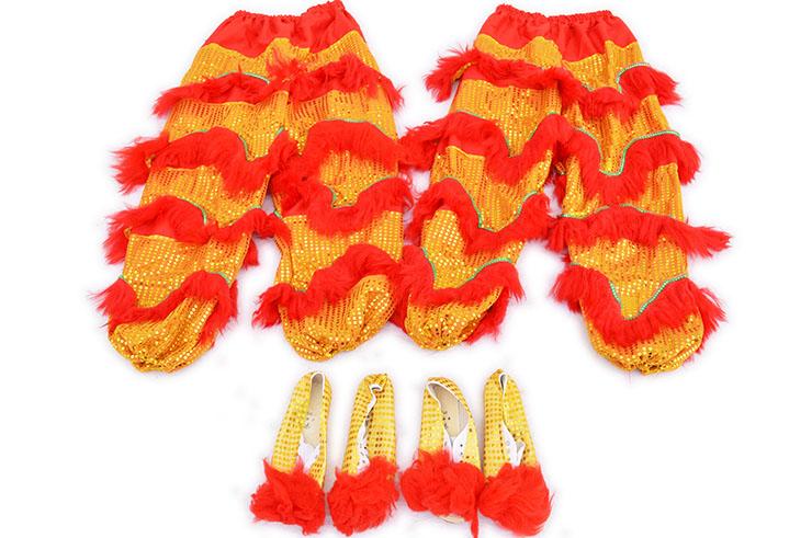 Traje Danza Del León del Sur Rojo / Oro