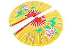 Abánico Doble Tai Chi (Taiji Shan) Peonía Dorado