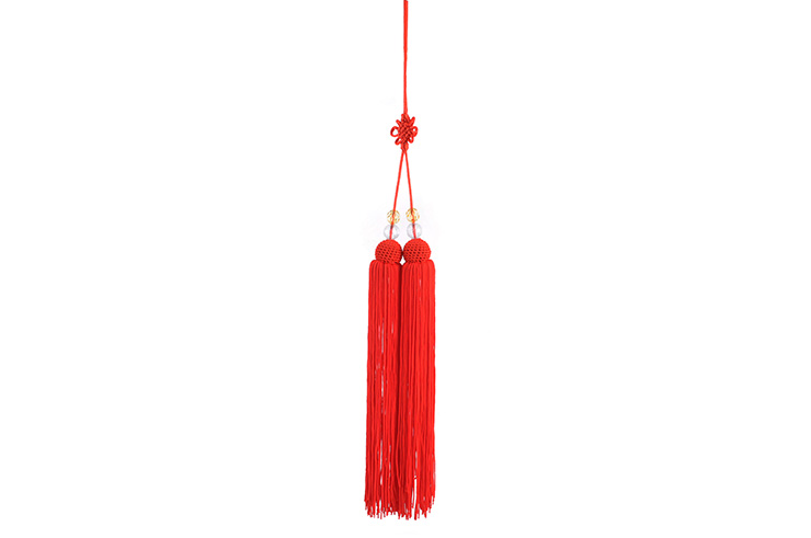 Pompón Para Espada (Corto, Rojo, Perlas Transparentes)