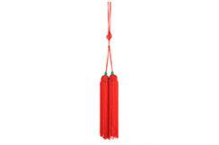Pompón Para Espada (Corto, Rojo, Perlas Verdes)