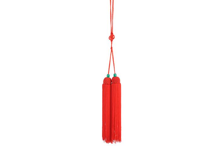 Pompon Pour Épée (Court, Rouge, Perle Verte)