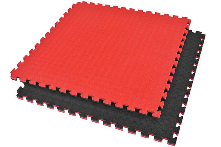 Tatami Puzzle, 2,5cm, Noir/Rouge, Motif Rhombique, Anti dérapant