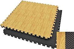 Tatami rompecabezas, 3 cm, Madera / Negro