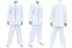 Tenue TaiJi, Classique, Blanc & Bleu, 1m80-1m90