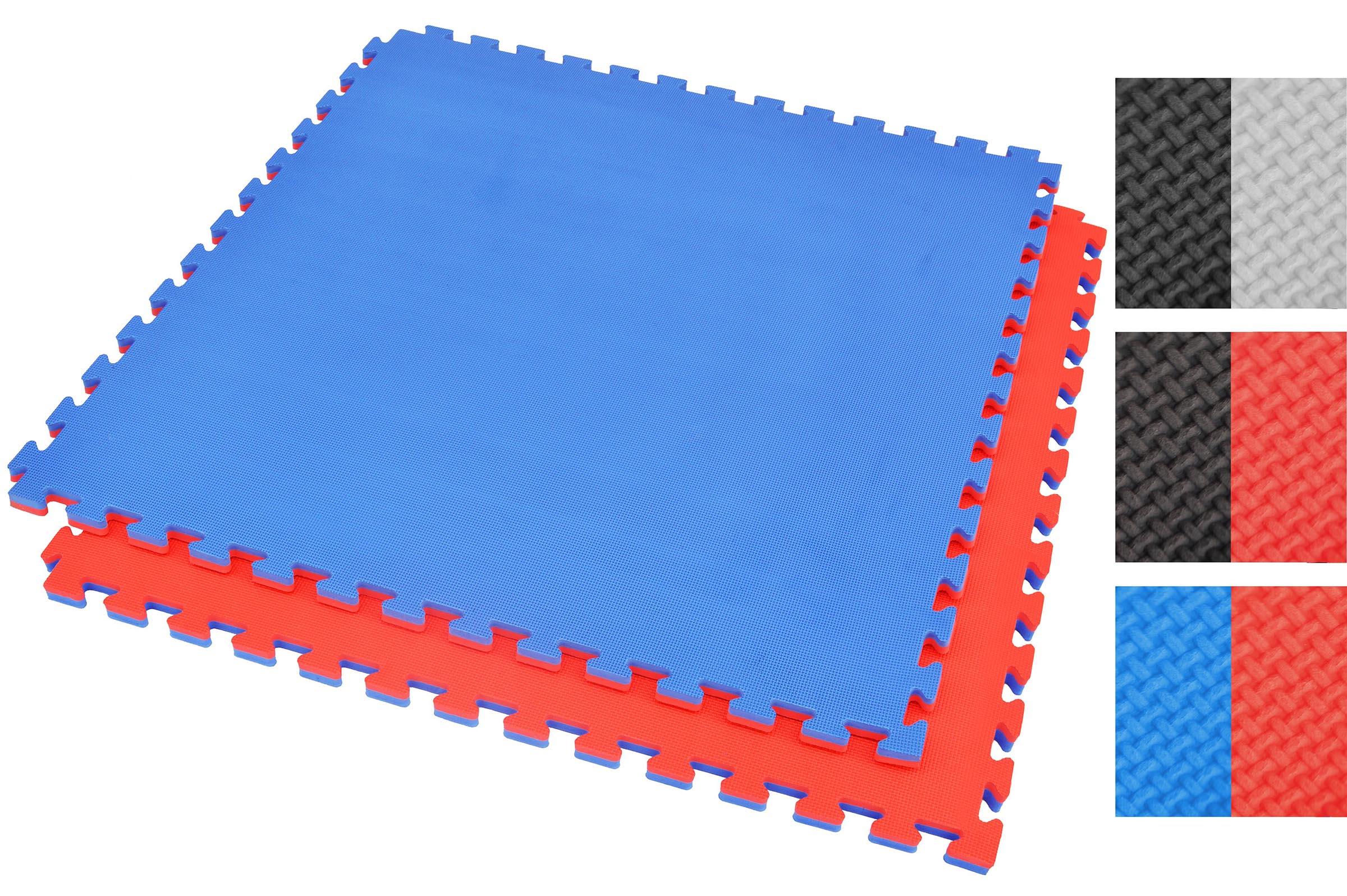 Puzzle Mat 2 Cm Blue Red T Pattern
